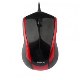 A4tech N-400-2 V-Track PADLESS Жична мишка , черна с червено